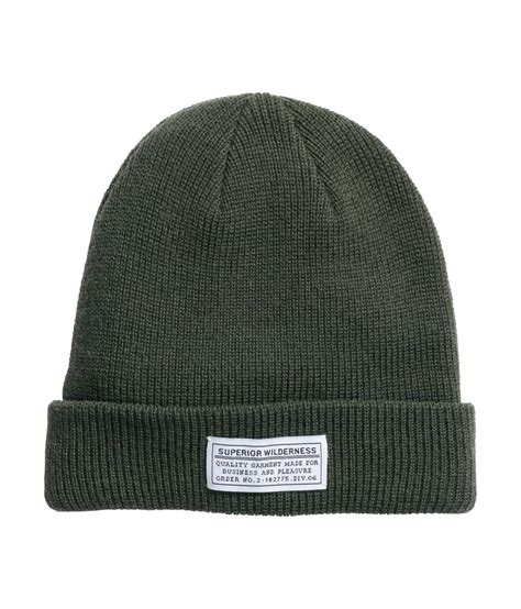 H M Knitted Hat In Green For Lyst