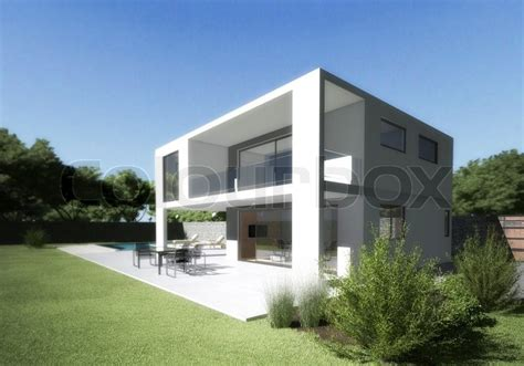 1 Story House Plans modern house villa with terrace and garden stock