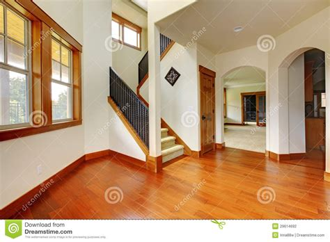 beautiful home entrance with wood floor new luxury home interior stock photo image 29614692
