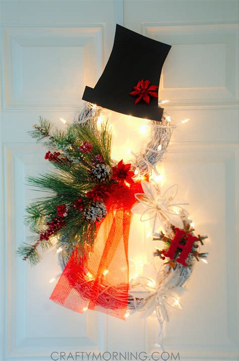 wreaths lighted lighted grapevine snowman wreath crafty morning
