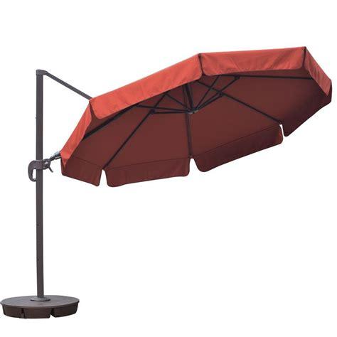 11 ft offset patio umbrella hton bay 11 ft solar offset patio umbrella in cafe