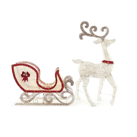 outdoor lighted sleigh home accents 65 in led lighted white deer and 46