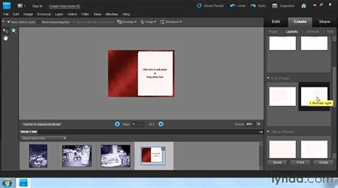 how to make a card in photoshop photoshop elements how to create greeting cards lynda