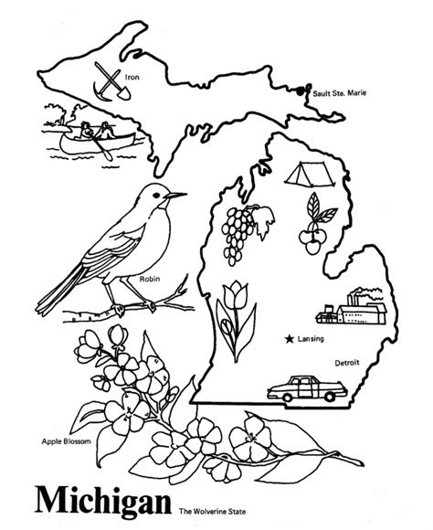 michigan crafts for michigan coloring pages az coloring pages