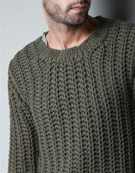 mens knitted sweater zara chunky knit sweater in khaki for lyst