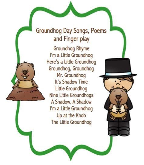 groundhog day play groundhog day songs poems and finger play puppet sticks