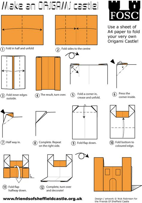 how to make a origami castle fold your own castle friends of sheffield castle