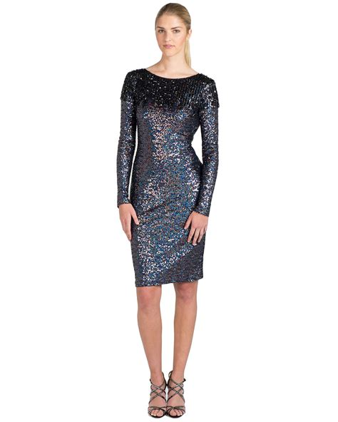 sequin beaded dress badgley mischka beaded shoulder sequin cocktail dress in