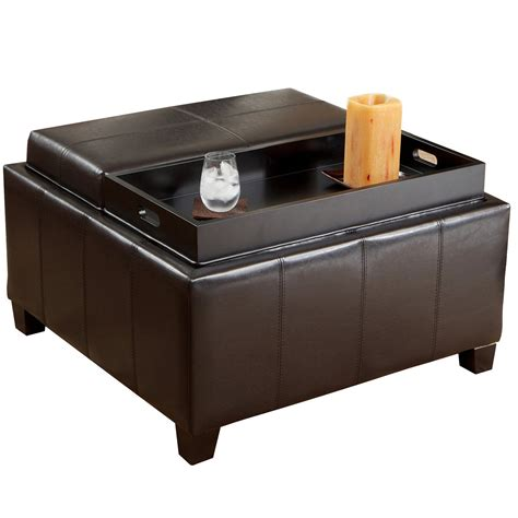 storage ottoman coffee table with trays small black leather ottoman coffe table with tray
