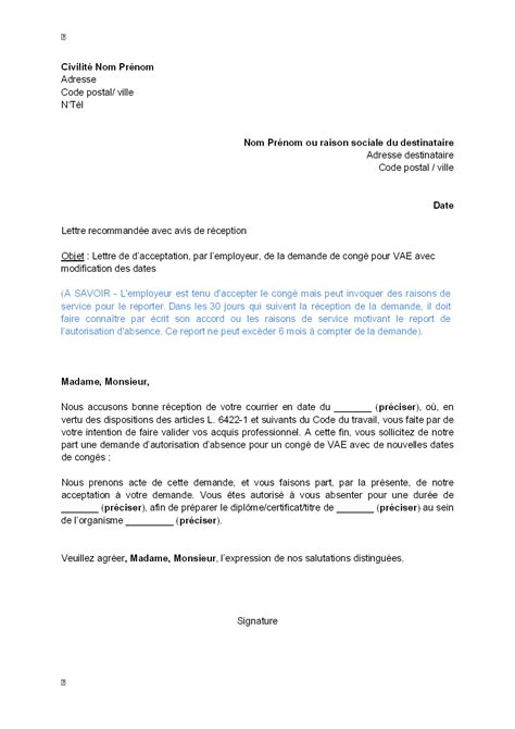Modification Du Contrat De Travail Pour Raison Personnelle by Exemple Lettre De Motivation Vae