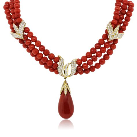 coral for jewelry 18k yellow gold strand coral necklace