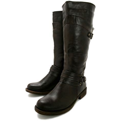 leather knee high boots for buy flat knee high biker boots brown leather style