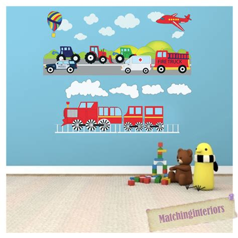 childrens nursery wall stickers childrens transport vehicles cars wall stickers decals