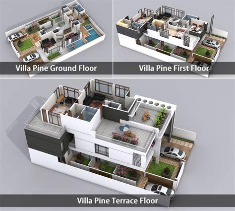 villa plan plan villa 3d