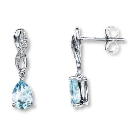 earrings with aquamarine earrings pear shaped with diamonds 10k