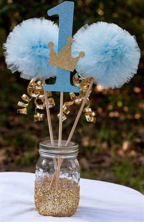 blue and gold decorations prince birthday blue and gold baby boy centerpiece