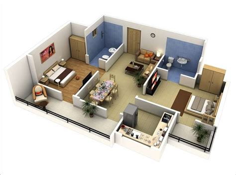 two bedroom interior design 10 awesome two bedroom apartment 3d floor plans
