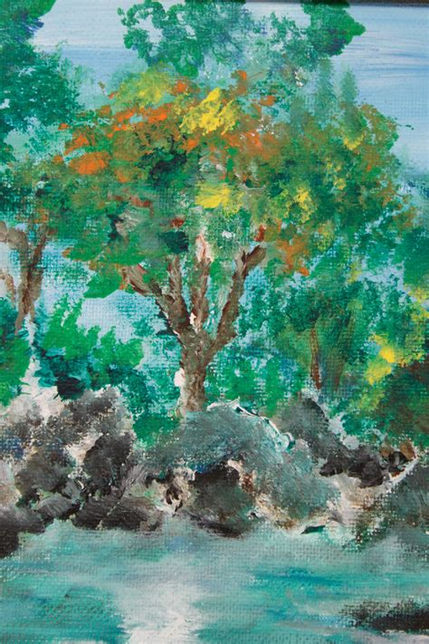 acrylic painting ebay landscape naturalist pond acrylic painting ebay