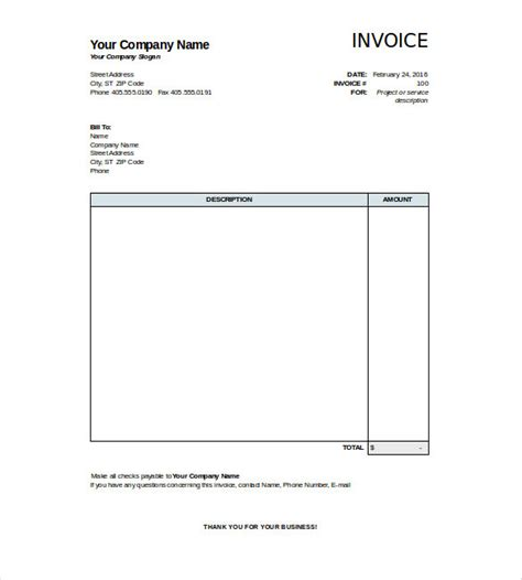 excel invoice template excel invoice form job invoice