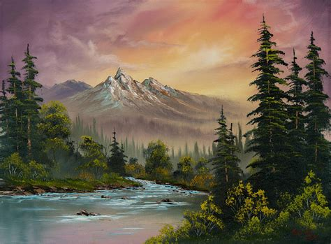 bob ross painting horses mountain sunset painting by c пейзаж