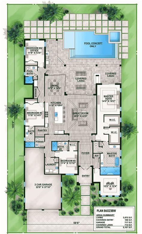 outdoor living floor plans florida house plan with indoor outdoor living 86023bw florida southern luxury 1st floor