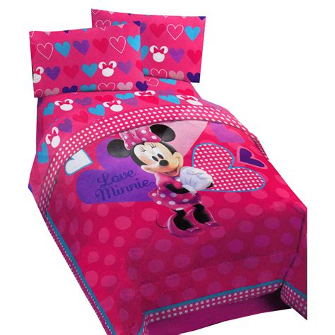 minnie mouse comforter set for toddler bed minnie mouse hearts bow tique comforter disney
