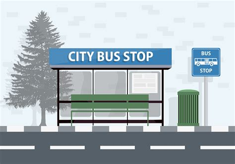 free city bus stop vector background download free