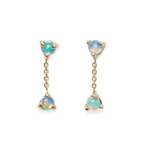 earrings with two step chain earrings opal catbird