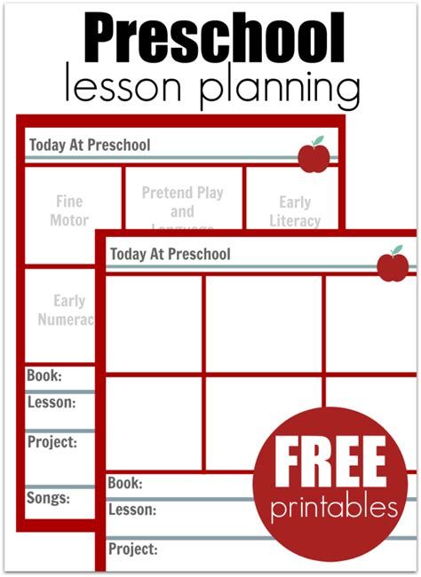 lesson plans for picture books preschool lesson planning template free printables no