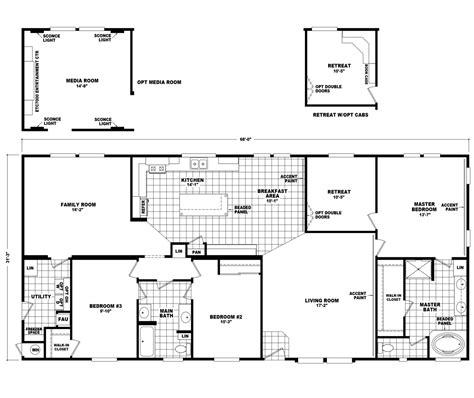 3 Bedroom 3 Bath House Plans the pecan valley iii hi3268a manufactured home floor plan
