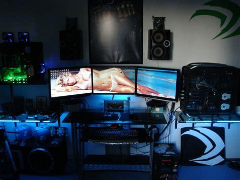 gaming room setup badh8me s gaming room 3 way sli 3 monitor setup by badh8me