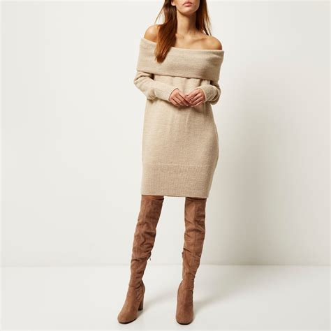 river island knitted dress river island beige knitted bardot sweater dress in