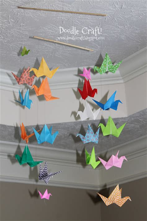 paper bird crafts craft origami flapping paper crane mobile