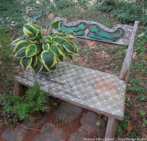 chalk paint bench ideas stencil an outdoor bench with chalk paint hometalk