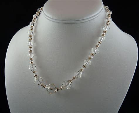 vintage glass bead necklace exceptional vintage graduated faceted glass bead necklace