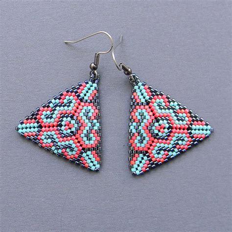 beaded triangle earrings colorful seed bead earrings triangle peyote by anabel27shop