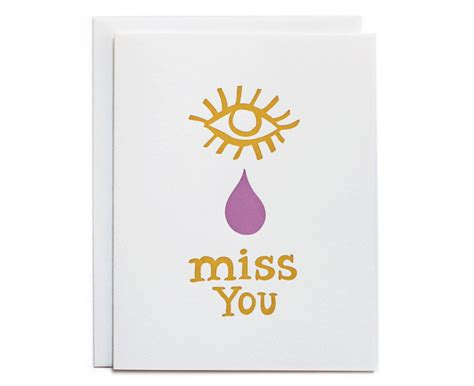 you cards miss you letterpress card day press