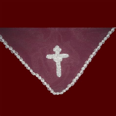 beaded trim for veil communion mantilla veil with beaded trim cross