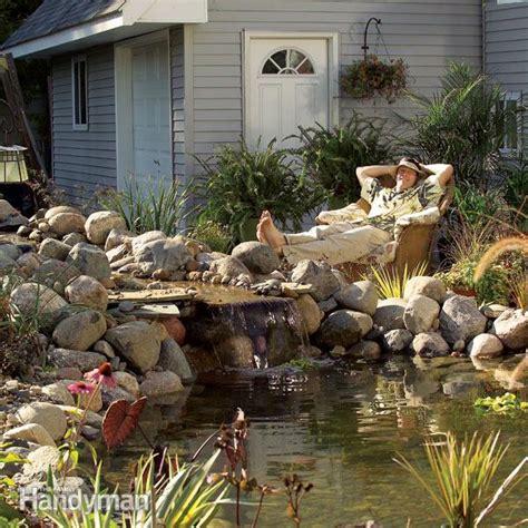 building backyard pond build a backyard pond and waterfall the family handyman