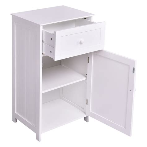 furniture organizer kitchen bathroom storage cabinet floor stand white wood