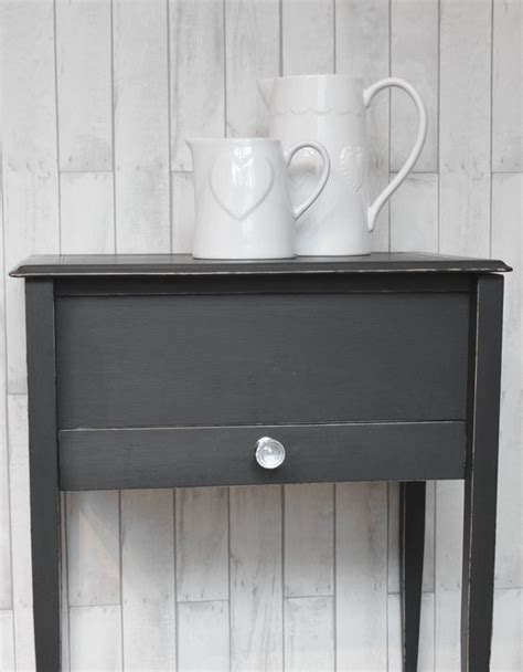 autentico chalk paint black upcycled side table painted in autentico quot nearly black