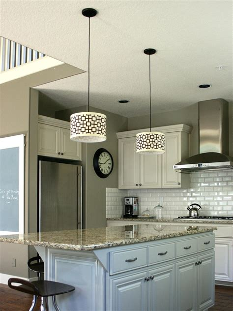 pendant light for kitchen island customize kitchen lighting with fabric covered drum shades hgtv