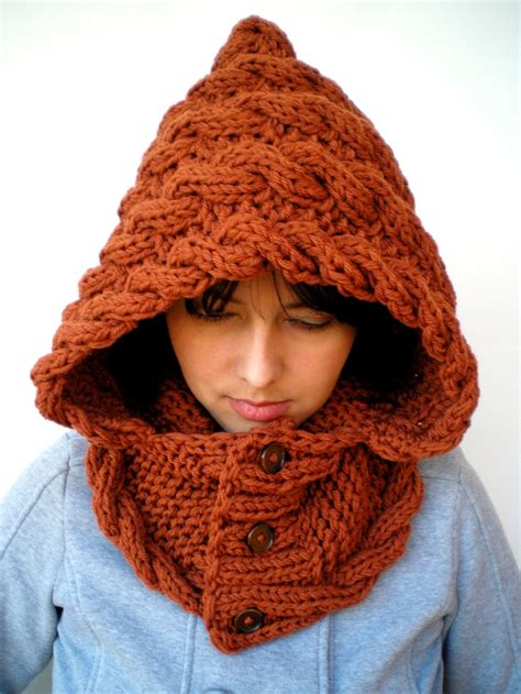 hooded cowl knitting pattern marion spice brown soft acrilyc hooded