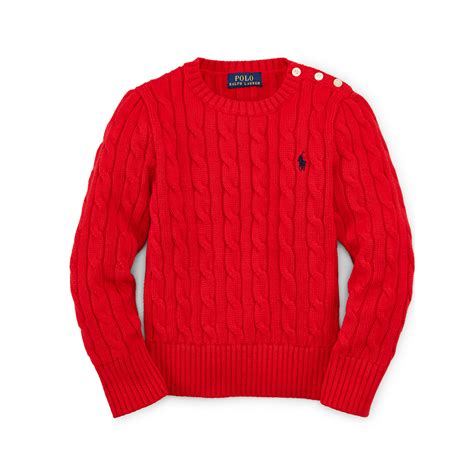 ralph cable knit sweater ralph cable knit cotton sweater in lyst