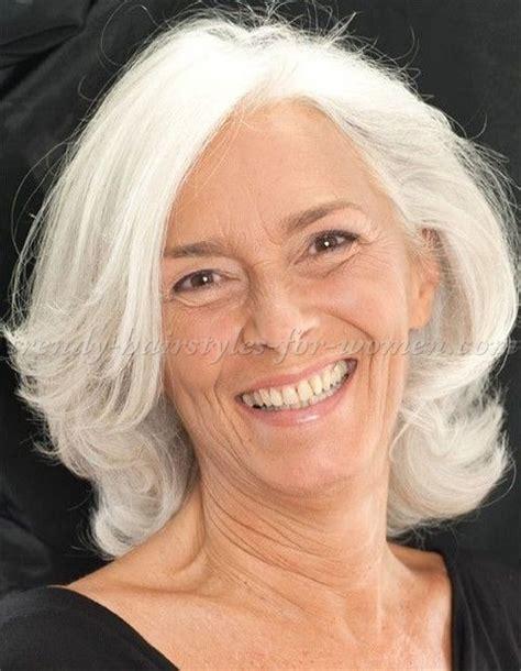 mid length grey hair shoulder length hairstyles over 50 medium length