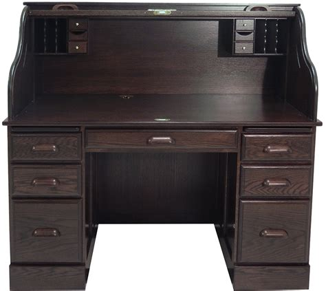 roll top desk 54 quot w deluxe solid oak laptop roll top desk