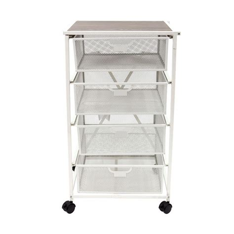 origami kitchen cart origami 4 drawer kitchen cart in white dfs 04 the home depot