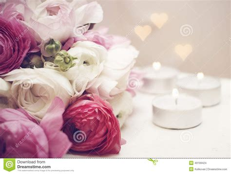 wedding invitation flowers with candles and light stock photo image 49199424