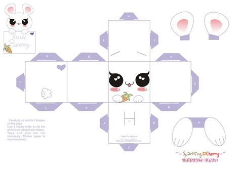 paper crafts templates kawaii bunny papercraft website free