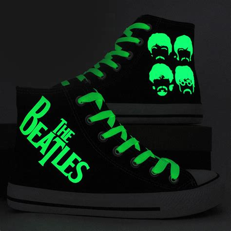 glow in the paint on shoes the beatles shoes painted canvas shoes glow in the